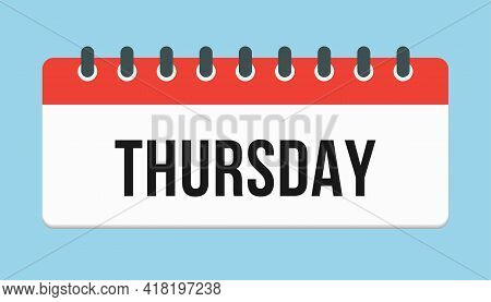 Vector Icon Page Calendar, Day Of Week Thursday