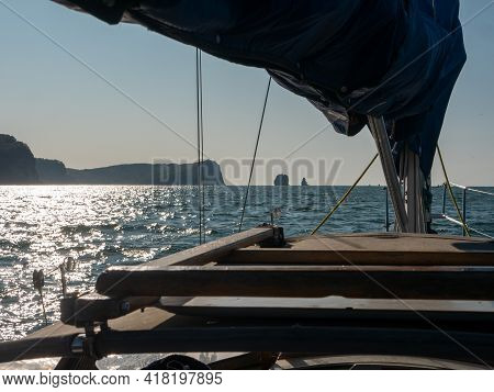 Exit On A Yacht To The Avacha Bay Of The Pacific Ocean. View From The Stern Of The Yacht On The Paci