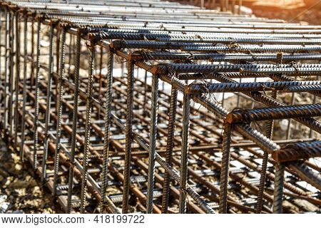 Industrial Background. Preparation For Pouring Concrete. Construction Of Buildings Of Reinforced Con