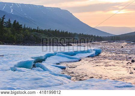 Banks Of The River Hoisey. Polar Day On Putorana Plateau, Russia