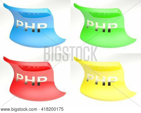 Colorful Set Of Four Icons For Php, Isolated On White Background - 3d Rendering Illustration