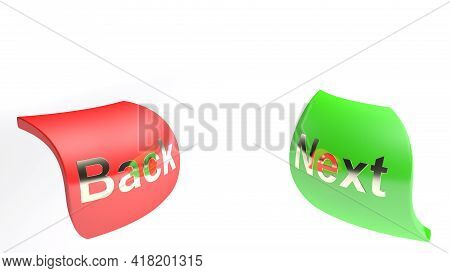 Icon Buttons Back And Next Isolated On White Background - 3d Rendering Illustration