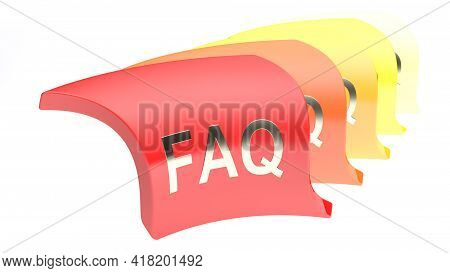 Faq Icon In A Queue, In Gradient Colors From Red To Yellow - 3d Rendering Illustration