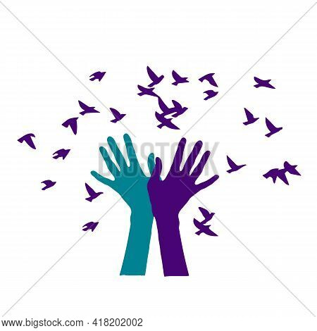 Birds Set Free , Birds Flying For Freedom From An Open Hand, Freedom Concept, Silhouette Of A Bird R