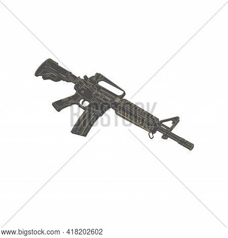 Illustration Vector Graphic Of Assault Rifle Design