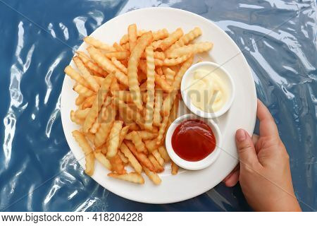 French Fries Or Fried Potato With Tomato Sauce And Mayonnaise For Serve