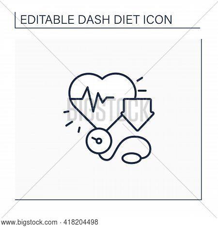Reducing Blood Pressure Line Icon. Pressure Measurement Using Stethoscope. Low Heartbeats. Dash Diet