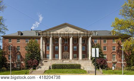 04-20-2021 Bethesda, Maryland, Usa: Bethesda Campus Of The National Institutes Of Health With The Ma