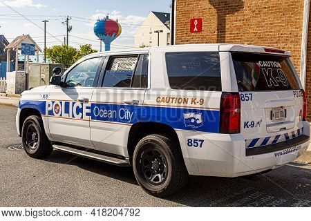 Ocean City, Md, Usa 04-18-2021: A Ford Explorer Police Vehicle Belonging To Ocean City Police Depart