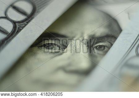 One Hundred Dollars. Us Dollars Background. Closeup Many Banknotes Hundred Dollar Bills. American Cu