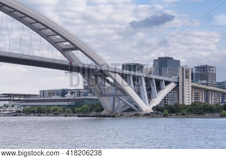 The Lupu Bridge Spanning The Huangpu River Connecting Pudong And Puxi In Shanghai China On A Sunny D
