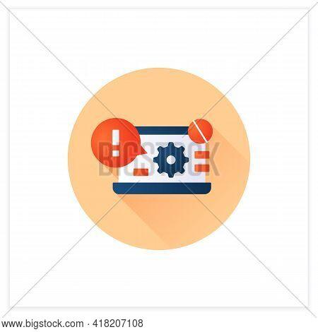 Laptop Error Notification Flat Icon. Cant Access Control Panel. Settings Error. Computer Breakdown.