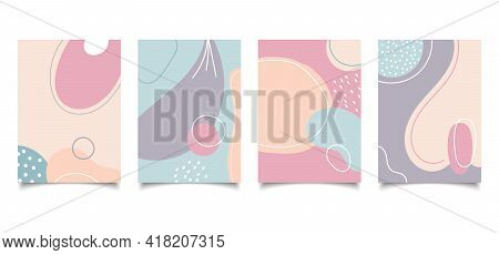 Set Of Abstract Creative Background Hand Drawn Organic Shape Pastel Color With Lines In Minimal Tren