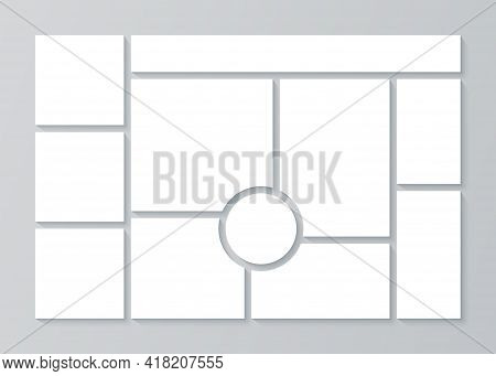 Moodboard. Photo Collage Template. Vector. Mosaic Frame Banner. Picture Grid. Mood Board Background.