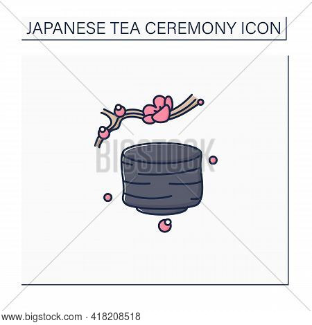 Tea Bowl Color Icon.special Cup For Preparing And Drinking Tea. Japanese Ethnic And National Ceremon
