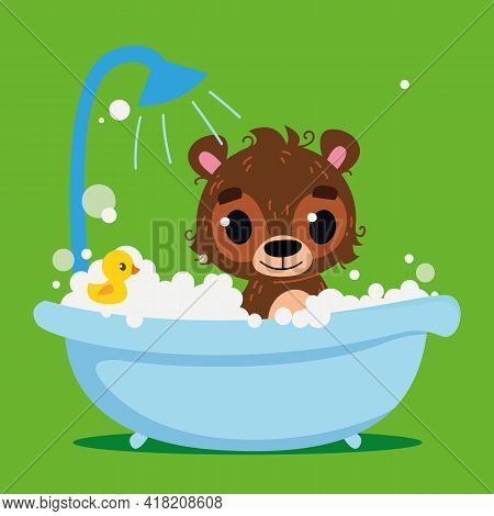 Cute Brown Bear Baby Bathes In The Bath. Vector Print For Children. Cartoon Character Of Children An
