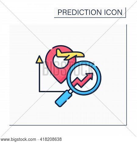 Travel Analytics Predictive Analytics Color Icon.help Travel, Transport, Logistics Companies. Chart