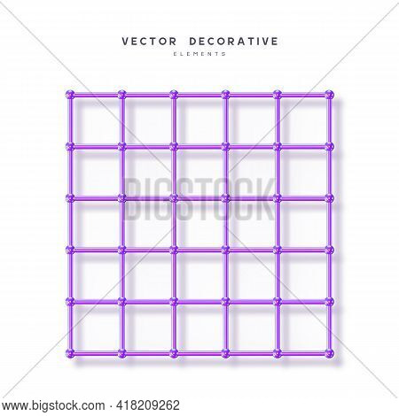 3d Render Primitive. Abstract Atom Array Grid From 3d Sphere, Tube. Glossy Violet Geometric Shapes I