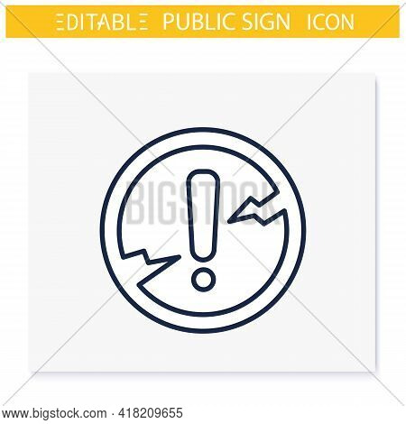 Danger Symbol Line Icon. Caution Warning. Dangerous Area. Attention Sign. Public Place Navigation. U