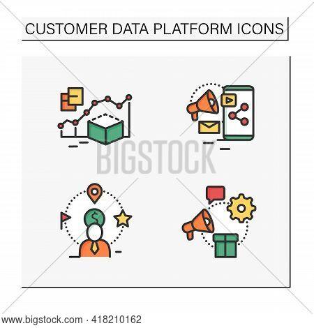 Customer Data Platform Color Icons Set. Predictive Modeling, Content Marketing, Client Attributes, M