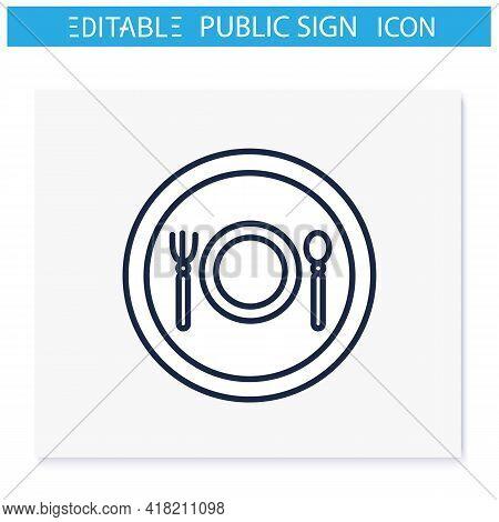 Restaurant Symbol Line Icon. Eating And Drinking Establishment Location. Public Place Navigation. Un