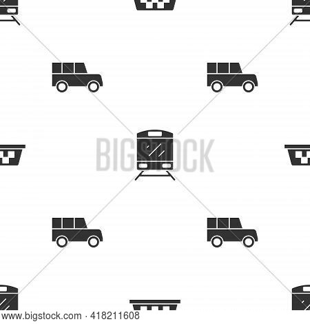 Set Taxi Car Roof, Train And Car On Seamless Pattern. Vector