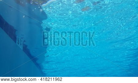 Submerged Under Water, Aqua Water, Reflection Of Sun In Beautiful Blue Swimming Pool