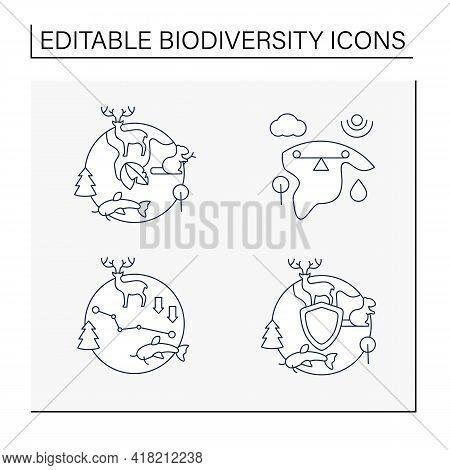 Biodiversity Line Icons Set. Ecosystem Balance, Protection, Loss. Biodiversity Concept. Isolated Vec