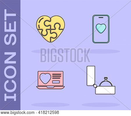 Set Diamond Engagement Ring, Heart, Dating App Online And Online Dating And Chat Icon. Vector