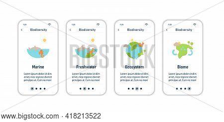 Biodiversity Onboarding Mobile App Screens. Marine, Freshwater, Ecosystem, Biome. Biodiversity Steps