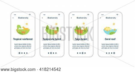 Biodiversity Onboarding Mobile App Screens. Tropical Rainforest, Temperate Forest, Taiga Forest, Cor