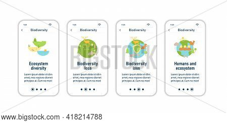 Biodiversity Onboarding Mobile App Screens. Ecosystem Diversity, Protection, Loss, Humans. Biodivers