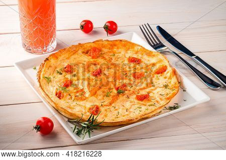 Spanish Omelette With Potatoes, Typical Spanish Cuisine. Tortilla Espanola.