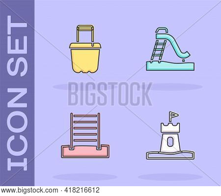 Set Sand Tower, In Bucket, Swedish Wall And Kid Slide Icon. Vector
