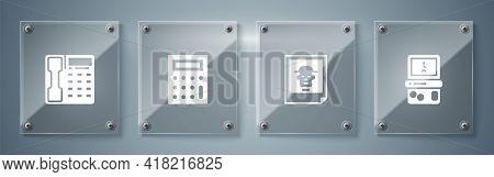 Set Tetris, Photo, Calculator And Telephone Handset. Square Glass Panels. Vector