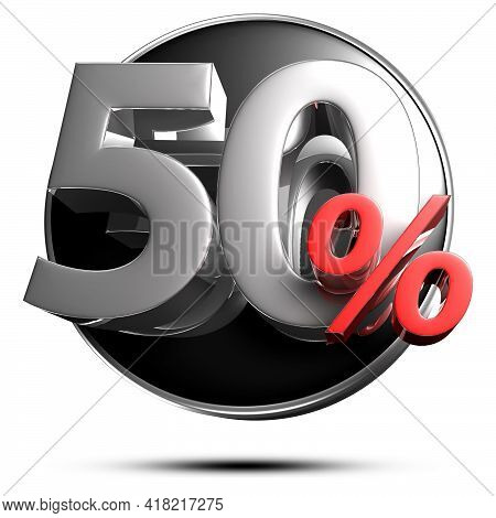 50 Percent Red 3D Illustration On A White Background With Clipping Path.