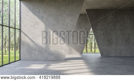 Modern Loft Style Empty Space Interior 3d Render,there Are Polished Concrete Floor ,wall And Ceiling