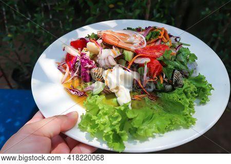 Spicy Salad Or Spicy Seafood Salad , Thai Food