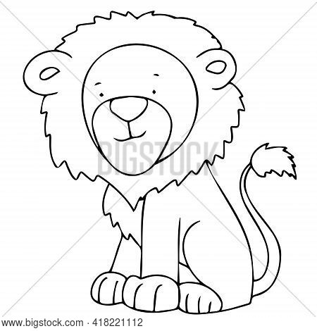 Vector Image With A Lion In Doodle Style. Lion Cub For Coloring.