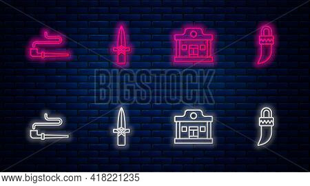 Set Line Dagger, Wild West Saloon, Smoking Pipe And Tooth. Glowing Neon Icon On Brick Wall. Vector