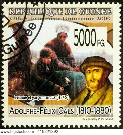 Moscow, Russia - April 23, 2021: Stamp Printed In Guinea Shows French Artist Adolphe-felix Cals, And