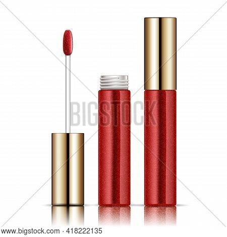 Opened Red And Gold Lip Gloss Tube. Isolated On White. Vector Illustration.