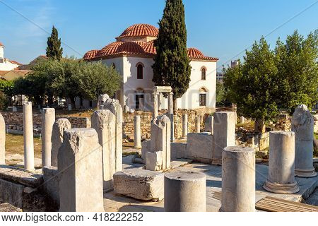 Roman Agora In Athens, Greece, Europe. Scenery Of Ancient Greek Ruins In Athens City Center At Plaka