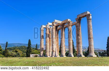 Temple Of Olympian Zeus In Athens, Greece, Europe. Ancient Building Of Zeus Is Famous Landmark Of Ol