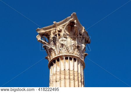 Corinthian Columns Of Temple Of Olympian Zeus Close-up On Blue Sky Background, Athens, Greece. Archi