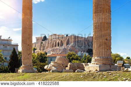 Temple Of Olympian Zeus Overlooking Acropolis, Athens, Greece, Europe. Scenic Sunny View Of Classica