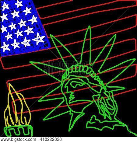 Statue Of Liberty. Line Cartoon Landmark And Symbol Of Freedom