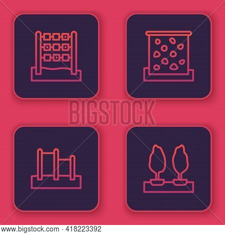 Set Line Tic Tac Toe Game, Horizontal Bar, Climbing Wall And Forest. Blue Square Button. Vector