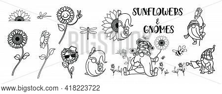 Gnomes With Sunflower, Summer Gnomes, Drawing Of Gnomes With Many Activities Ans Sunflower, Elements