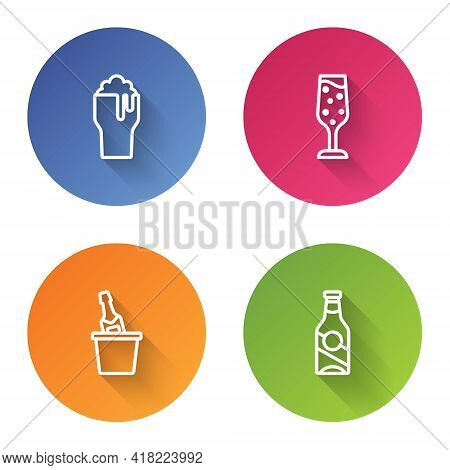 Set Line Glass Of Beer, Champagne, Champagne In An Ice Bucket And Beer Bottle. Color Circle Button.